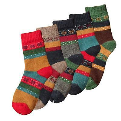 YSense 5 Pairs Womens Knit Warm Casual Crew Winter Socks (fits shoe