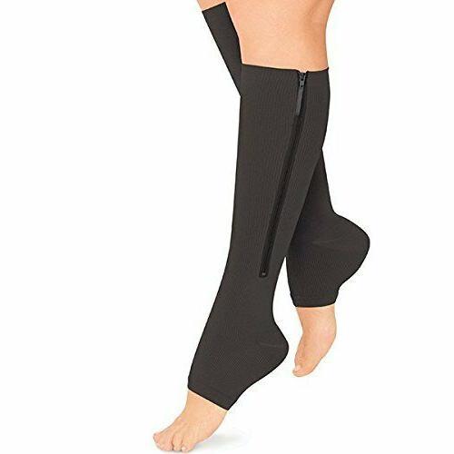 zipper medical compression support sock open toe