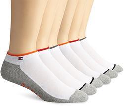 Tommy Hilfiger Men's 6 Pack Liner Sock, Orange/Grey, 10-13