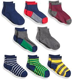 Stride Rite Little Boys' 8-Pack Quarter Socks, Rugby Stripe-