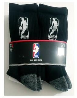 NBA Logo Men's Basketball Crew Socks 6 Pack Size 6-12 black