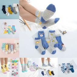 Lot 5 Pairs Baby Boy Girl Cartoon Cotton Socks Kids Toddler