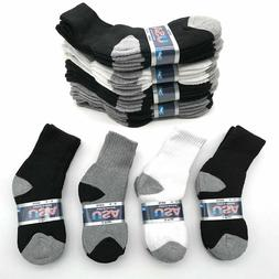 Lot 6 -12 Pairs Solid Child Kids Sports Athletic Crew Socks