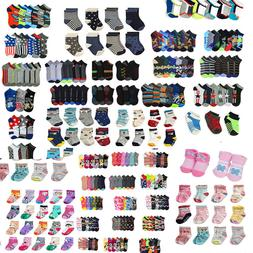 Lot of 12 pair Kid Crew Ankle Socks Toddler Boy Girl Casual