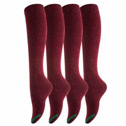 Lovely Annie Women's 4 Pairs Pack Knee High Cotton Boot Sock