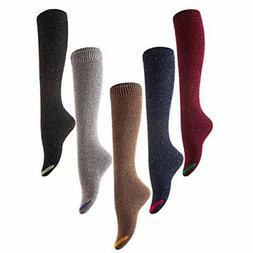 Lovely Annie Women's 5 Pairs Pack Knee High Cotton Socks Siz