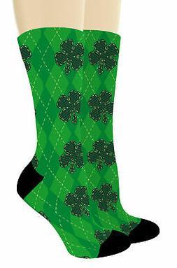 Lucky Shamrock Socks Green Plaid St Patrick's Day Socks Four