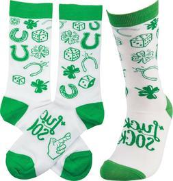 LUCKY SOCKS Shamrocks, Horseshoes, Adult Novelty Socks by Pr