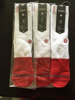 Stance MEDIUM Transition Crew Socks Lot of 3 Men's NWT Red