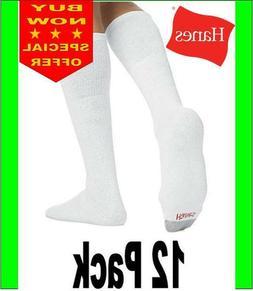 Hanes men 12 Pack Over The Calf Tube Socks White