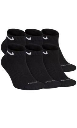 Nike Men 6 Pairs Black Performance Cotton Low Cut Socks Soft