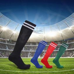 Men Kids Sports Football Soccer Long Socks Knee High Stripe