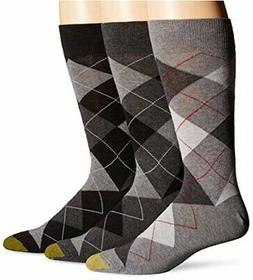 Gold Toe Men's 3-Pack Carlyle Argyle Crew Sock Black Grey Ar