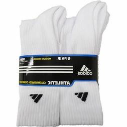 ADIDAS MEN'S 6 PACK ATHLETIC CREW SOCKS MOISTURE WICKING CUS