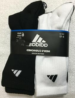 Adidas Men's 6-Pair Crew  Socks  White/Black