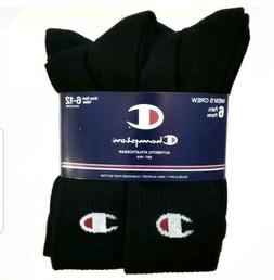 Champion Men's Arch Support Crew Socks 6 Pack Black Size 6-1