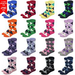 Fine Fit Men's Argyle Cotton Dress Socks Wedding Diamond Pat