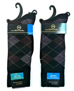 Gold Toe Men's Argyle Crew Socks, Brown/Blue/Org, Sock Size