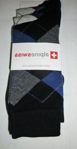 ALPINE SWISS MEN'S ARGYLE DRESS SOCKS Black/Blue One Size MS