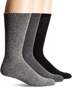 Chaps Men's Assorted Solid Mock Rib Casual Crew Socks , Blac