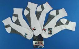FILA Men's Athletic Quarter Crew Socks 3 Pack Large White Ne