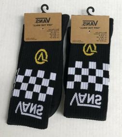 VANS Men's Black/White Gold V Checkerboard Crew Socks VN0A45