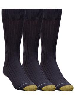 Gold Toe Men's Canterbury Cotton Crew Dress Socks 3-Pack Sty