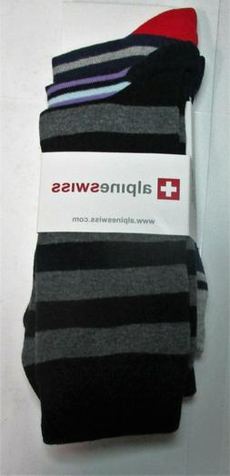 Alpine Swiss Men's Cotton 3 Pack Dress Socks Striped & Argyl