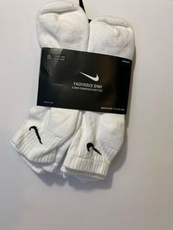 Nike Men's Cotton Cushion Quarter Socks 3 OR 6 Pairs White S