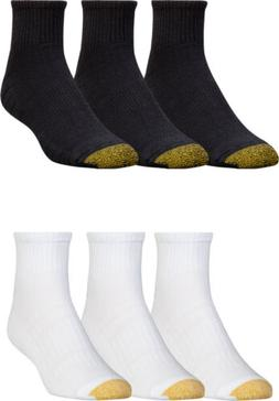 Gold Toe Men's Cotton Quarter Athletic Sock, 2 Colors, 6 Pai