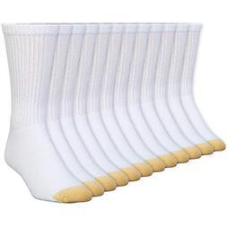 Gold Toe Men's Crew 656s Athletic Sock, 12 Pack White, Shoe