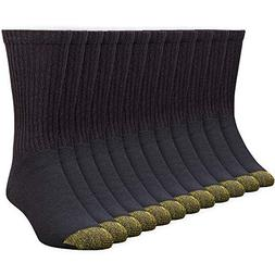 Gold Toe Men's Crew 656s Athletic Sock, 12 Pack Black, Shoe
