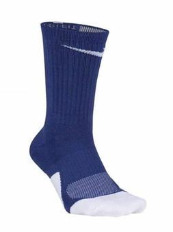 Nike Men's Crew Elite Versatility Basketball Socks Blue Whit
