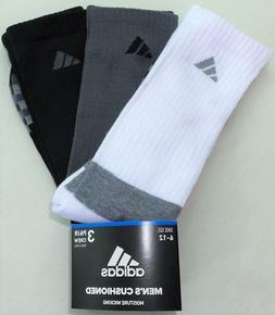 adidas Men's Crew Socks 3 Pair Pack Large Black Grey White C