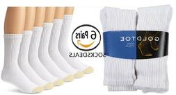 Gold Toe Men's Crew Socks White 6-Pair Sock Size 10-13 Cotto