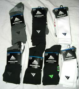 Men's Cushioned adidas Moisture Wicking Crew Socks 3 Pairs S