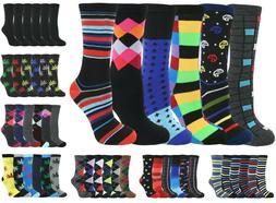 Men's Dress Crew Colorful Cotton Pattern Socks - 6 Pack