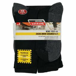 Dickies - Men's Dri-Tech Comfort Crew Work Socks Black  5-Pa