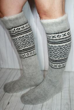 MEN's LEG WARMERS sheep wool KNEE SOCKS thick warm comfortab