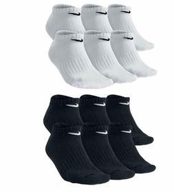 Nike Men's No Show Socks Cotton Cushioned 6 Pack Black White