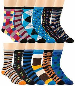 Men's Pattern Dress Funky Fun Colorful Crew Socks 12 Assorte
