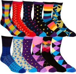 Men's Pattern Dress Funky Fun Colorful Socks 12 Assorted Pat