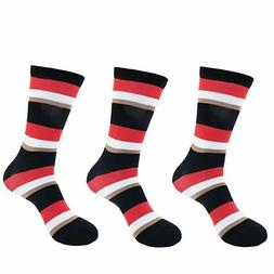 Men's Rayon from Bamboo Casual Dress Striped Socks - 3 Pair