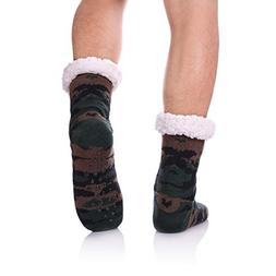 CHOWISH Men's Slipper Socks Winter Thermal Fleece Lining Cam