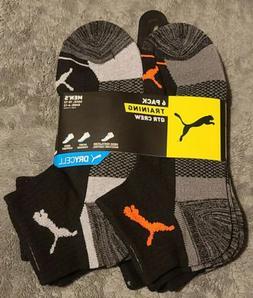 Puma Men's sock 6-Pair QTR Crew TRAINING  Socks. Shoe Size 6