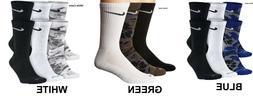 Men's Women NIKE DRIFIT Camo Crew Socks 3 Pairs M 6-8 Large