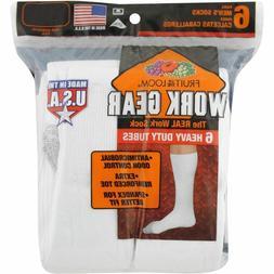 Fruit of the Loom Men's Work Gear Heavy Duty Tube Socks 6-24