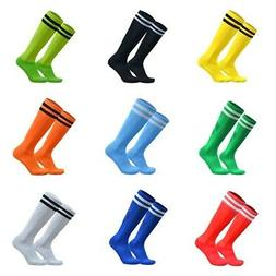 Men Sports Football Soccer Long Socks Knee High Stripe Baseb