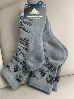 Adidas Mens 2 Pair High Quarter Socks Gray w/black Cushion C