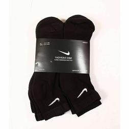 NIKE Mens 3 OR 6 PAIRS PACK BLACK CUSHION COTTON QUARTER ANK